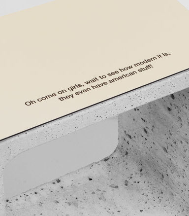 SALTS Associations New gold mirror Dibond and precast concrete stool jacques tati playtime