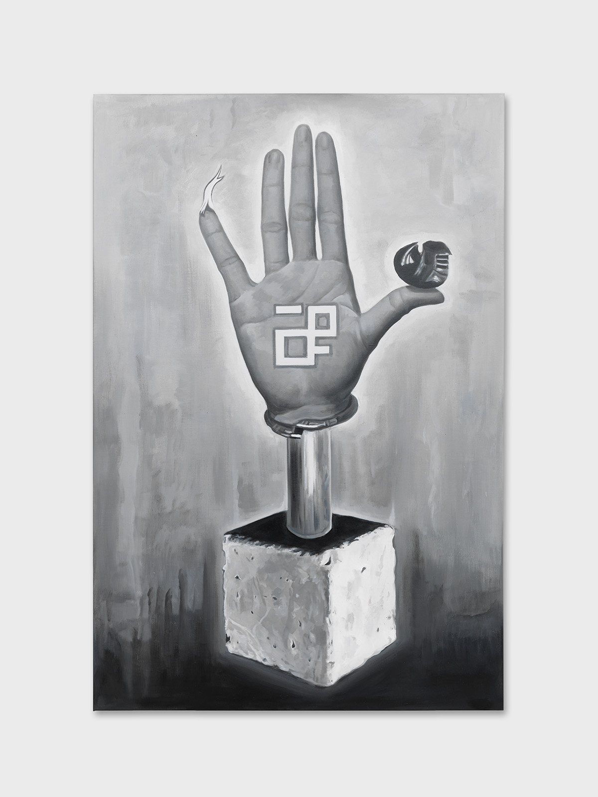 main votive main ouverte Photorealist painting concrete Chandigarh Le Corbusier Sharma Jeanneret