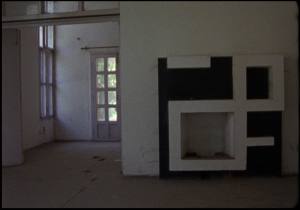 Chandigarh Bolex 16 mm video still Le Corbusier Jeanneret concrete building abandoned house